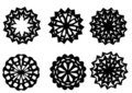 Six snowflakes handmade Royalty Free Stock Photo
