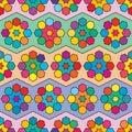 Six star hexagon chevron colorful symmetry seamless pattern