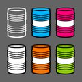 Six steel barrels,  illustration Stock Photography
