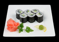 Six tasty rolls japanese food on white plate Stock Photos
