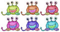 Six three eyed aliens illustration of the on a white background Royalty Free Stock Images