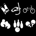 Six tools for sports different white silhouettes of different in a black background Stock Images