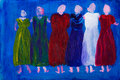 Six women in dresses painting Royalty Free Stock Images