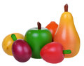 Six wooden fruits Royalty Free Stock Photo