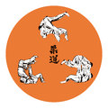 Six wrestlers judo on a red background Royalty Free Stock Photo