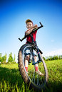 Six year old boy on a bike Royalty Free Stock Photos