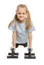 Six year old girl athlete is pushed via the stops Royalty Free Stock Photo