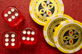 Sixes Dice and Poker Chips Royalty Free Stock Image