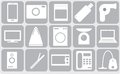 Sixteen gadgets for home on gray background vector illustration Royalty Free Stock Photos