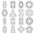 Sixteen jewels line icons set