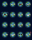 Sixteen planet faces Royalty Free Stock Photo