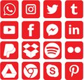 Red colored Social Media Icons For Christmas