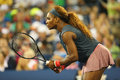 Sixteen times grand slam champion serena williams during first round doubles match with teammate venus williams at us open new Stock Photography