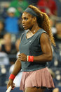 Sixteen times grand slam champion serena williams during first round doubles match with teammate venus williams at us open new Stock Image