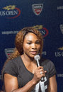 Sixteen times grand slam champion serena williams at the us open draw ceremony flushing ny august in flushing on august Royalty Free Stock Photo