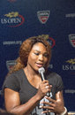 Sixteen times grand slam champion serena williams at the us open draw ceremony flushing ny august in flushing on august Royalty Free Stock Image