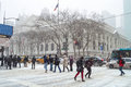 Sixth ave snow commuters deal with the near the ny public library during winter storm janus on january in manhattan Stock Image