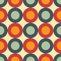 Sixties seamless pattern vector illustration of retro style background made with circles in red orange and blue editable eps file Stock Photography