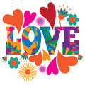 Sixties style mod pop art psychedelic colorful love text design eps vector Royalty Free Stock Photos