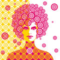 Sixties woman illustration Royalty Free Stock Images