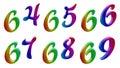Sixty four, Sixty five, Sixty six, Sixty seven, Sixty eight, Sixty nine, 64, 65, 66, 67, 68, 69 Calligraphic 3D Rendered Digits