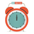 Sixty minutes stop watch alarm clock vector illustration Stock Images