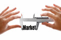 The size of our market close up shot a caliper measuring word Royalty Free Stock Photos