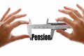 The size of our pension close up shot a caliper measuring word Stock Photography