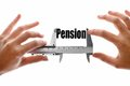The size of our pension close up shot a caliper measuring word Stock Images