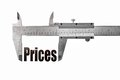 The size of our prices close up shot a caliper measuring word Royalty Free Stock Photos