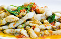 Sizzling spicy fried razor clam dish Stock Image