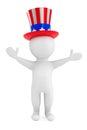 Självständighetsdagenbegrepp liten person d med den amerikanska hatten Royaltyfri Bild