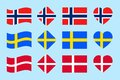 stock image of  The Skandinavian countries flags set. Vector. Denmark, Norway, Sweden national flag collection. Flat isolated icons, traditional c