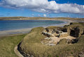 Skara brae with bay of skaill in background one europe s best preserved neolithic sites orkney scotland Stock Images
