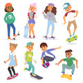 Skateboard characters vector illustration Royalty Free Stock Photo