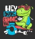 Skateboard dinosaur urban t-shirt print design, vector illustration. Royalty Free Stock Photo