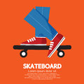 Skateboard focusing at leg vector illustration Royalty Free Stock Images