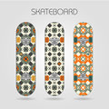 Skateboard set girly tracery of drawings on a Royalty Free Stock Images