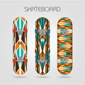 Skateboard set retro tracery of drawings on a Royalty Free Stock Images
