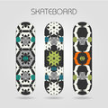 Skateboard set tracery floral of drawings on a Royalty Free Stock Images