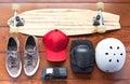 Skateboard stuff skateboarder s photographed on a wooden floor Stock Photos