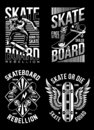 Skateboard T-shirt Designs Collection Royalty Free Stock Photo