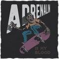 Skateboard t-shirt label design with illustration of skeleton playing skateboard.