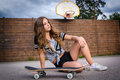 Skateboard teenage girl portrait of with Stock Photography