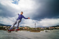 Skateboarder on a grind Royalty Free Stock Image