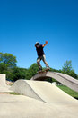 Skateboarder Grinding at the Skate Royalty Free Stock Photo
