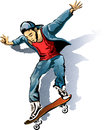 The skateboarder illustration with young man on skateboard drawn in sketch style Stock Image
