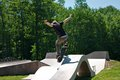 Skateboarder Jumping Skate Ramp Royalty Free Stock Photo