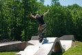 Skateboarder Jumping Skate Ramp Royalty Free Stock Photo