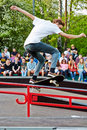 Skateboarder performs at opening of skatepark moscow may in culture and recreation park sokolniki may moscow russia in Stock Image